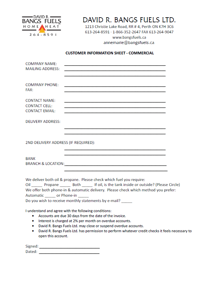 Commercial Information Form