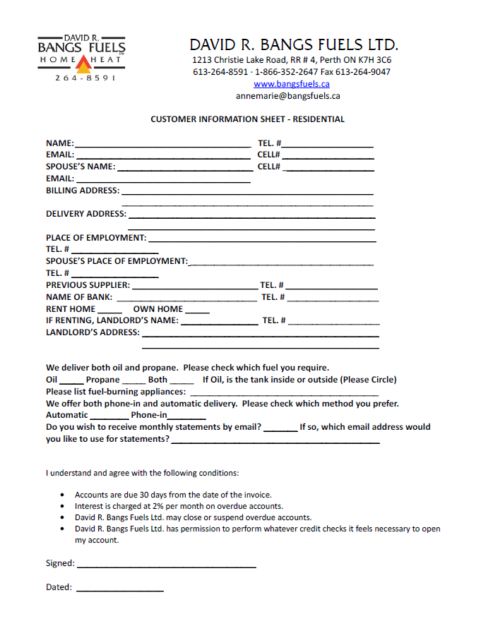 Residential Information Form
